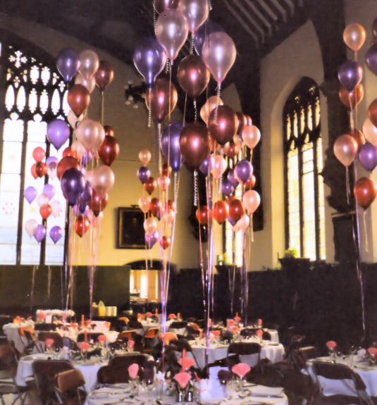 Hall With Balloon Table Settings