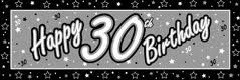 GIANT BANNER- 30TH BIRTHDAY BLACK & SILVE